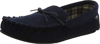 33ef2bdf5f69 Totes Mens Check Lined Cord Moccasin Slippers Navy