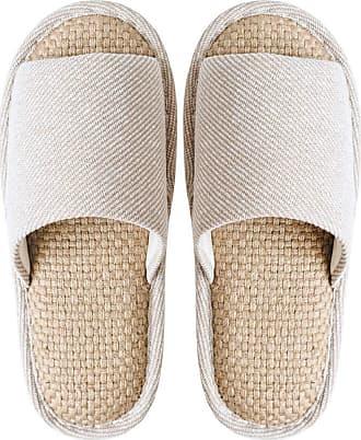 Yvelands Home Slippers Womens Winter Cotton Slipper Soft Sole Linen Peep Toe Flat Slippers Indoor Bedroom Shoes Beige