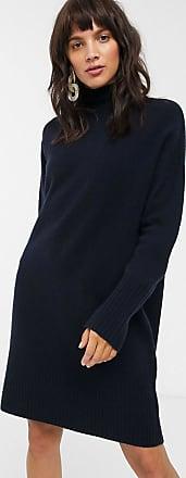 Whistles rib sleeve knit midi dress-Navy
