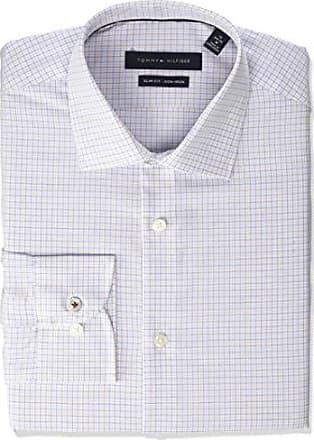 c220910e Tommy Hilfiger Mens Dress Shirts Non Iron Slim Fit Check, Cobalt Blue, 16  Neck