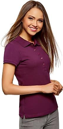 oodji Womens Basic Pique Polo Shirt, Purple, UK 4 / EU 34 / XXS