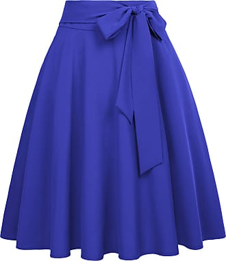 Belle Poque 1950 Style Women Evening Party Office Casual A-Line Skater Skirts Royal Blue(561-8) X-Large
