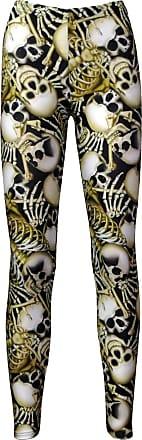Insanity Skeleton Bones Graveyard Skull Ribcage Printed Leggings (L/XL)