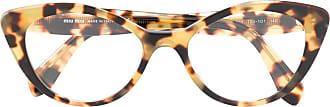 Miu Miu Eyewear Armação de óculos gatinho - Marrom