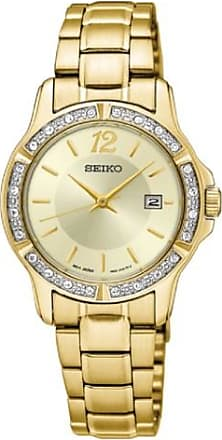 Seiko Womens 28mm Gold-Tone Steel Bracelet & Case Hardlex Crystal Quartz Analog Watch SUR714P1