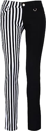 Banned Half Half White Striped Skinny Jeans Black