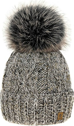 4sold Womens Ladies Chunky Soft Cable Knit Handmade Hat Natural Alpaca Wool Inside Cosy Fleece Liner Faux Fur Pom Pom (Beige)