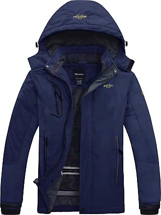 Wantdo Mens Anorak Outdoor Waterproof Jacket Fleece Ski Jacket Raincoats Navy XX-Large
