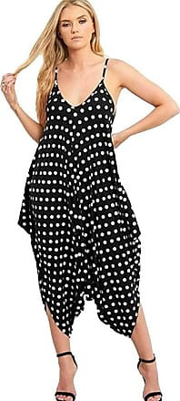 Crazy Girls New Womens Plain Ali Baba Harem Suit Cami Strappy Oversized All in One Jumpsuit (L/XL-UK14/16, Black-Polka Dot)