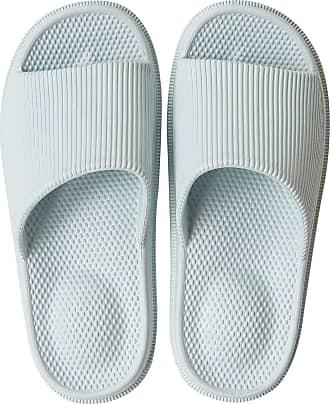 iLoveSIA Women/Mens Non-Slip Shower Slippers Indoor Rubber Sandals Light Blue UK 4