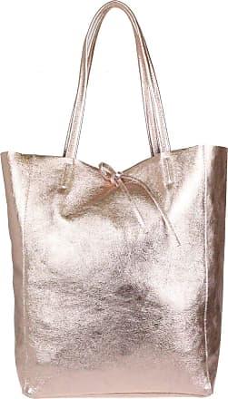 Girly HandBags Girly HandBags Open Top Genuine Leather Handbag - Metallic Champagne
