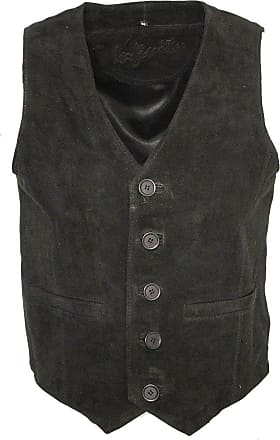 Infinity Mens Goat Suede Classic Smart Black Leather Waistcoat 2XL