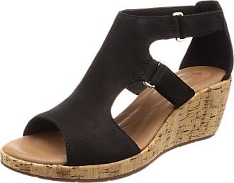 Clarks Womens Un Plaza Ankle Strap Sandals, Black (Black Nubuck), 6 UK