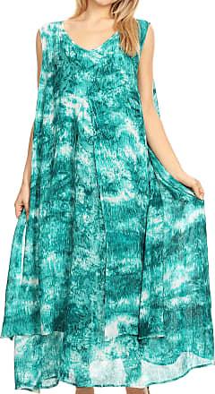 Sakkas 19455 - Arisa Womens Maxi Casual Tie Dye Sleeveless Layered Cover up Tank Dress - C-3 - rml