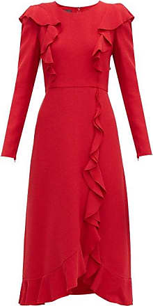 Giambattista Valli Ruffled Bouclé Midi Dress - Womens - Red