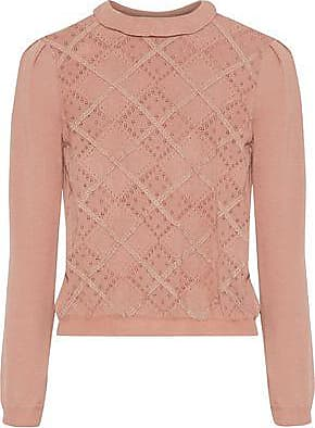 Red Valentino Redvalentino Woman Lace-trimmed Pointelle-knit Wool Sweater Antique Rose Size XS