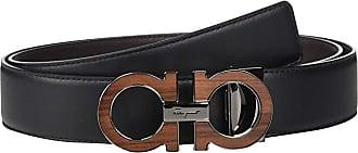 Salvatore Ferragamo Adjustable/Reversible Belt - 679941 (Black/Hickory) Mens Belts