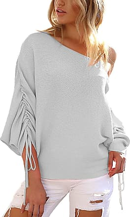 Yoins Women One Shoulder Lace-up Tops Blouses Casual Loose Long Sleeves Baggy Pleated Sweaters Knitwear Light Grey UK 14-16