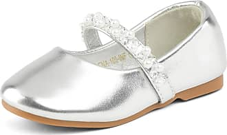 Dream Pairs Girls Mary Jane Casual Slip On Ballerina Flat New Silver Size 9 US Toddler/ 8 Child UK SERENA-100-INF