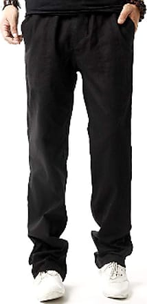 Inlefen Mens Summer Soft Linen Loose Long Pants Solid Color Breathable Large Size Middle Waist Elastic Band Trousers with Pocket(Black/3XL)