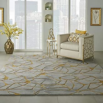 Nourison SMM05 Symmetry Eclectic Grey and Yellow Large 79 X 99 Area Rug