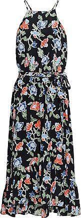 Joie Joie Woman Fluted Floral-print Silk Crepe De Chine Midi Dress Black Size XXS