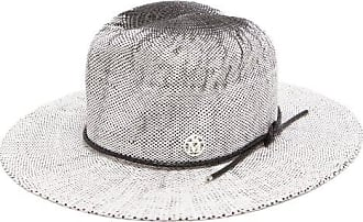 Maison Michel Yoshiko Leather-trimmed Straw Hat - Womens - White Black