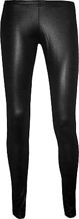 Be Jealous Womens Matt Wet Look Shiny Leather Full Ankle Length Leggings Plus Sizes Black M/L (UK 12/14)