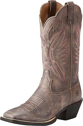 Ariat Womens Round Up Outfitter Western Boots in Tack Room Chocolate Leather, B Medium Width, Size 4.5, by Ariat