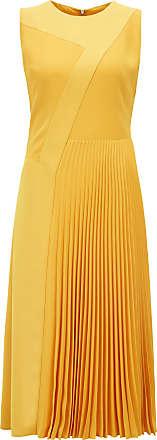 fcb2a9b2bd86 BOSS Hugo Boss Patchwork midi dress in crepe plissé skirt detail 2 Yellow