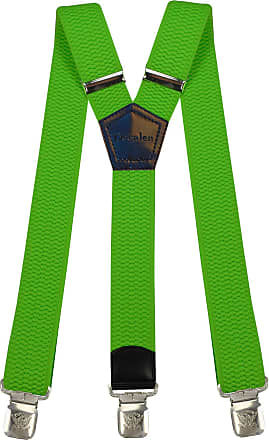 Decalen Mens Braces Wide Adjustable and Elastic Suspenders Y Shape with a Very Strong Clips - Heavy Duty (Bright Green)