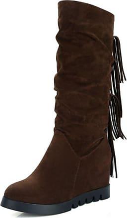 RAZAMAZA Women Fashion Fringe Pull On Casual Hidden Wedge Mid Calf Boots (39 AS, Brown)