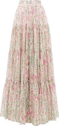 Giambattista Valli Tiered Floral-print Silk Maxi Skirt - Womens - Ivory Multi