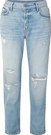 GRLFRND Olivia Distressed Slim Boyfriend Jeans - Mid denim
