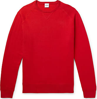 Aspesi Slim-fit Loopback Cotton, Cashmere And Wool-blend Sweater - Red