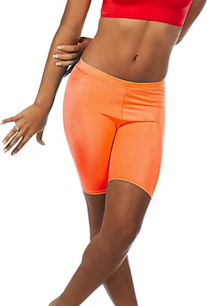 The Celebrity Fashion Womens Active Bike Gym Workout Cycling Shorts Running Casual Sport Leggings Neon Orange