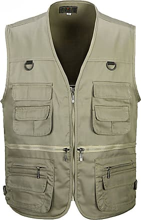 Vdual Men Casual Waistcoat Sleeveless Vest Outdoor Reporters Photography Camping Hunting Fishing Working Vest Jacket Gilet Top Khaki