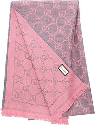 Gucci Schal 3G200 Wolljacquard Gucci Logo rosa grau