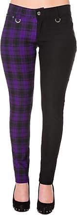 Banned Apparel Tartan Split Leg Skinny Jeans Waist 28