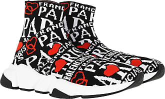 Balenciaga Sneakers - Speed Jacquard Paris Sock Sneakers Black/White/Red - black - Sneakers for ladies