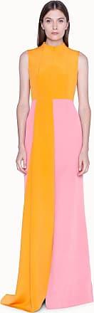 Akris Gown in Silk Crêpe Bi-Color with Asymmetrical Hem