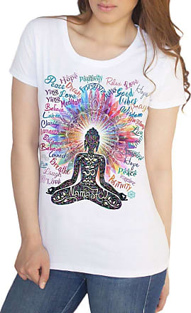 Irony Womens Top Namaste Buddha Flowers-Positive Quotes Colour Explosion TS1318 (White, XXLarge)