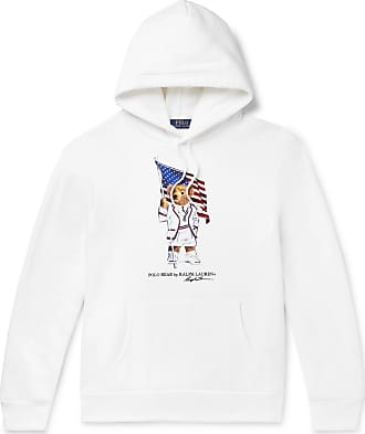 Polo Ralph Lauren Printed Fleece-back Cotton-blend Jersey Hoodie - White