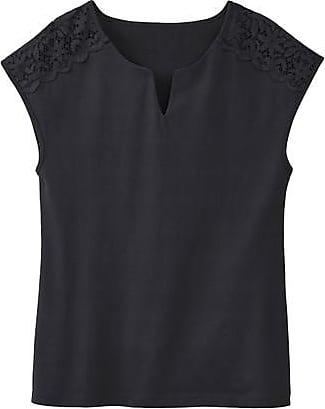 Enna T-Shirt aus Bio-Baumwolle mit Spitze, schwarz