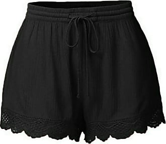 JERFER Fashion Women Lace Plus Size Rope Tie Shorts Yoga Sport Pants Leggings Trousers Sexy Casual Gym Pants Black