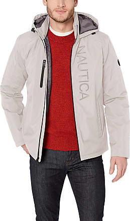 Nautica Mens Stretch Midweight with Logo Front Down Alternative Coat, Stone, XX-Large