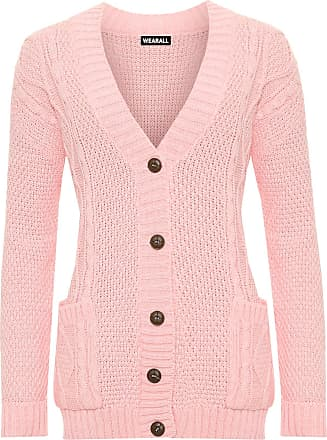 WearAll Womens Cable Knitted Button Cardigan Long Sleeve Ladies Boyfriend Top - Pink - 12/14