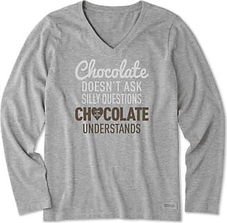 Life is good Womens Chocolate Questions Long Sleeve Crusher Vee XXXL Heather Gray
