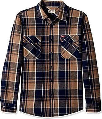 Brixton Mens Coors Bowery Long Sleeve Flannel, Navy Plaid, M