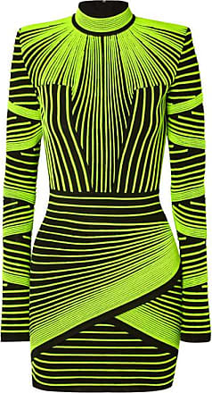 e447281cc5 Balmain Neon Ribbed Stretch-knit Mini Dress - Green